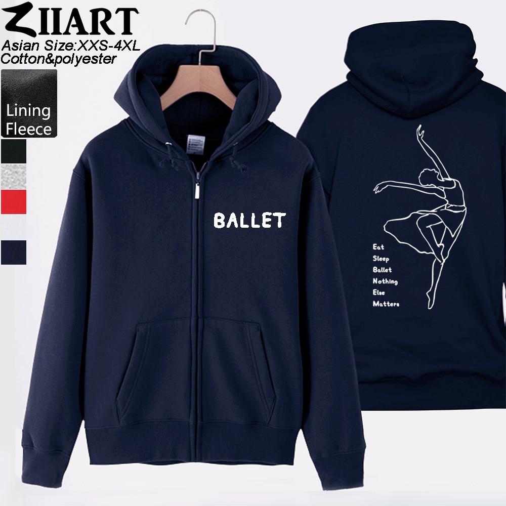 Ballet Elegant Dancer Eat Sleep Ballet Nothing Else Matters Man Boy Coat Full Zip Hoodie Fleece Hooded Jacket Autumn ZIIART