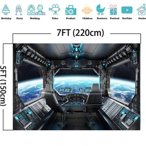 Image 5 - Laeacco Birthday Photography Backgrounds Universe Space Capsule Spaceship Little Astronaut Photo Backdrops For Photo Studio Prop