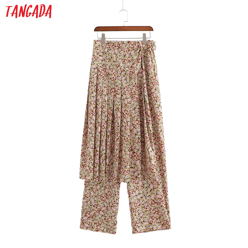 Tangada Fashion Women Floral Print Casual Skirt Pants Trousers 2 Piece Seperate Pockets Buttons 2020 Female Pants 1D12