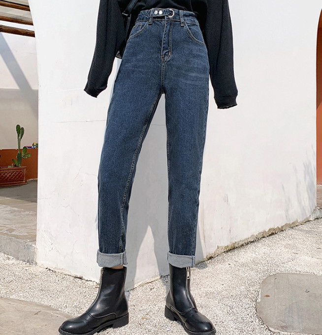 Ripped Jeans For Women  High Waist Wide Legs Straight Boy Friend Jean Dad Pants  Denim Trousers Casual Cargo Pant Ouc701