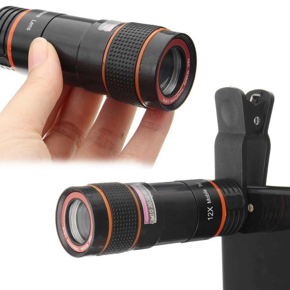 HD 12X 倍率光学ズーム可能なカメラ望遠鏡レンズクリップユニバーサルためのスマートフォン用 iphone プラグアンドプレイ