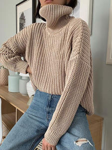 Oversized Sweaters Cashmere-Pullovers Korean-Tops Knitted Turtleneck Thick WOTWOY Autumn Winter