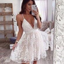 Justchicc אונליין תחרה לפרוע שמלת נשים צווארון V ספגטי רצועת רקמת נקבה ללא משענת שמלת המפלגה מועדון גבירותיי שמלת Vestido