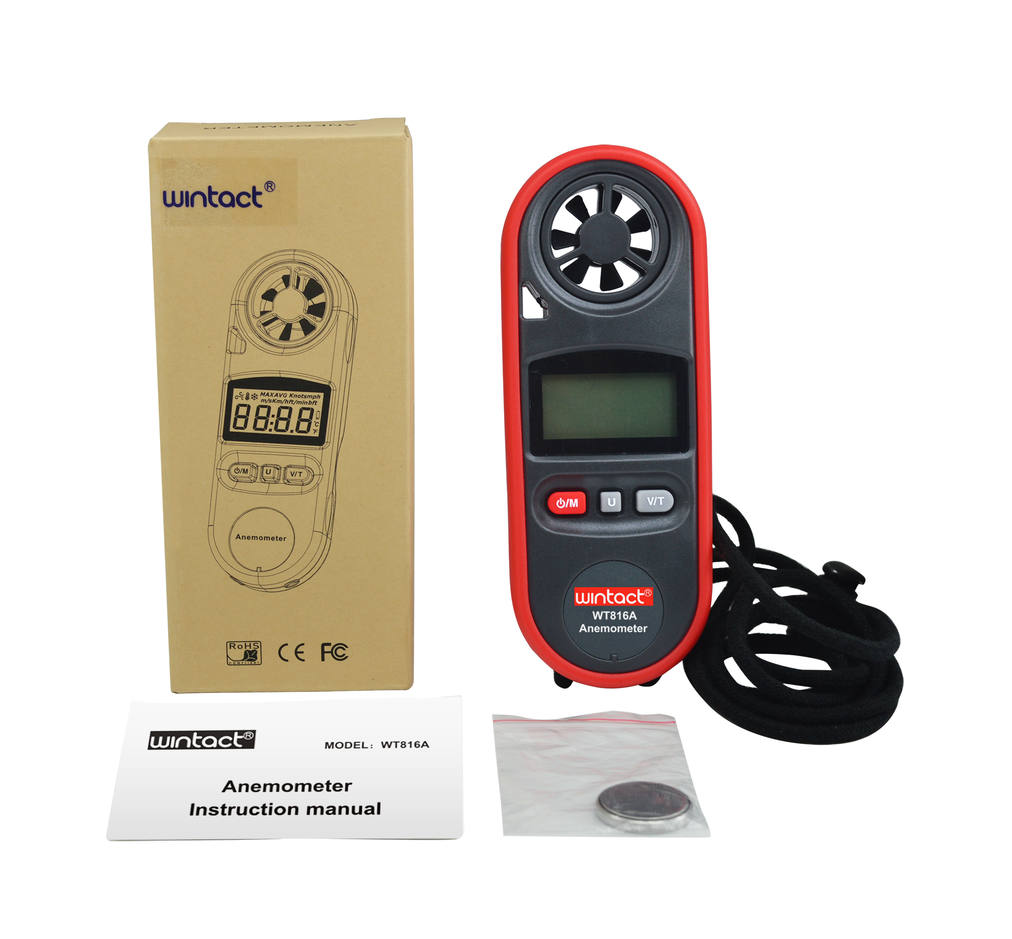 Portable RZ GM816 Wind Speed Meter Used as Anemometer with LCD Display Useful for Windsurfing 24