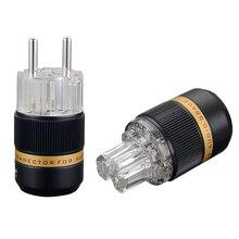 Выборг VE511R+ VF511R 99.99% чистый Медь прозрачный покрытого родием Schuko EU Hi-Fi аудио Мощность кабель Расширение адаптер штепсельной вилки