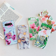 Vintage Flowers&Banana Leaf Ring Phone Case For Samsung S8 S9 S10 Plus Note 9 10 Pro Plus A10 M10 A20 A30 A50 A70 Soft IMD Coque(China)