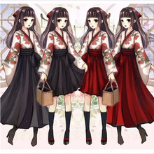 Girls Japanese Style Retro Kimono Floral Long Sleeve Woman Party Dress Print Top And Skirts Outfits Asian Clothes