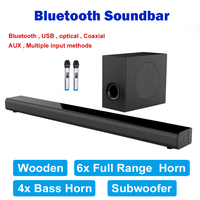 L5 L2 Bluetooth soundbar Wall hanging pure wood tv speaker Subwoofer 3D surround sound home theater 10 horn Integrate