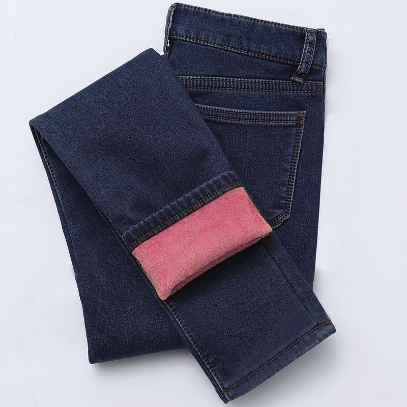 Women's Thick High Waist Jeans Fashion Stretch Skinny Pencil Pants Female Plus Size Denim Pants For Autumn Winter Jeans
