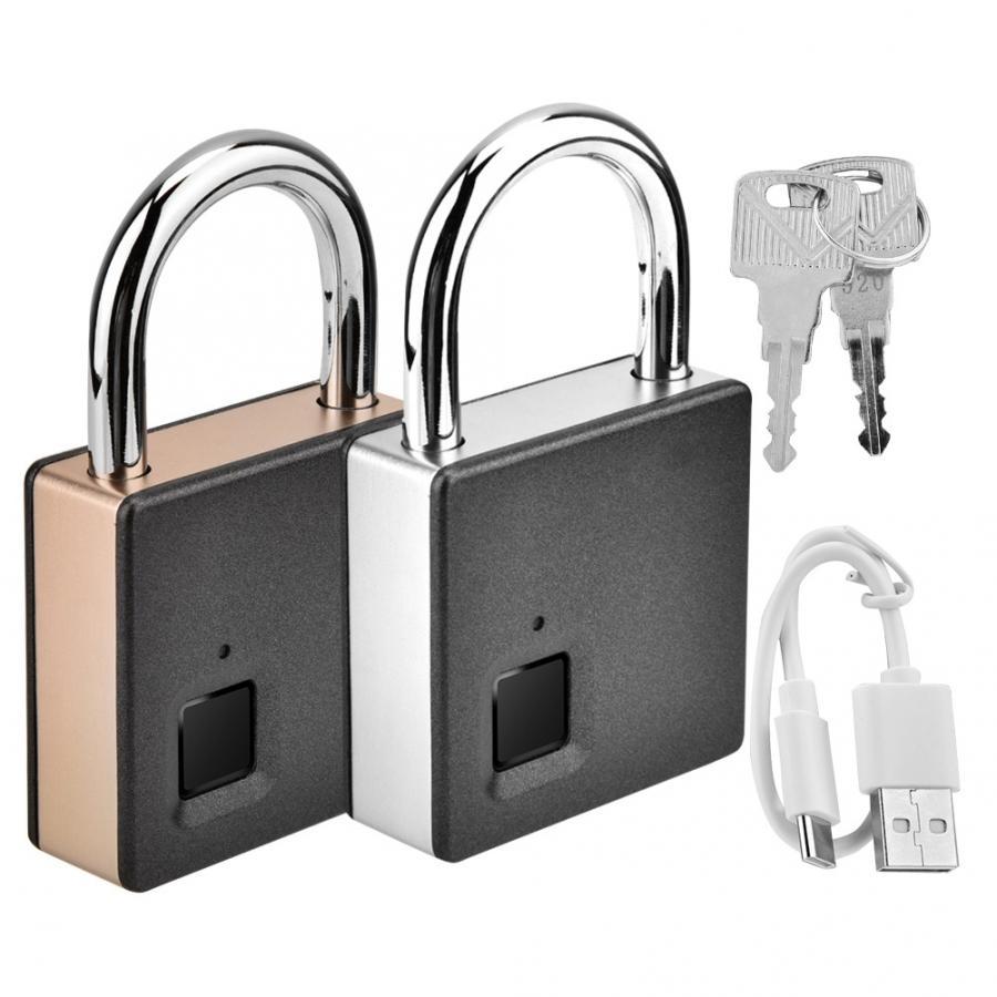 Smart Door Lock Metal Fingerprint Door Lock Padlock Stainless Steel Biometric Portable Outdoor Padlock Dustproof Waterproof LockElectric Lock   -
