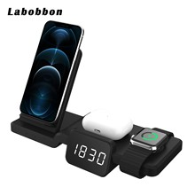 Labobbon 5 in1 Qi Wireless Charger For Apple Watch 6 5 4 3 2 Fast Charging Dock Station for iPhone 8 Pus X XS XR 11 Pro MAX 12