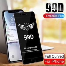 25 PCS 99D Gebogen Rand Volledige Cover Beschermende Glas Op De Voor For iPhone 7 8 6S Plus XS MAX X XR Screen protector c sinding 7 stucke op 25