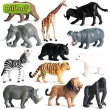 Mini figurines d'animaux sauvages en PVC, 12 pièces, figurines de haute qualité, Lion, tigre, vache, éléphant, vache, Panda, jouets pour enfants, cadeau idéal