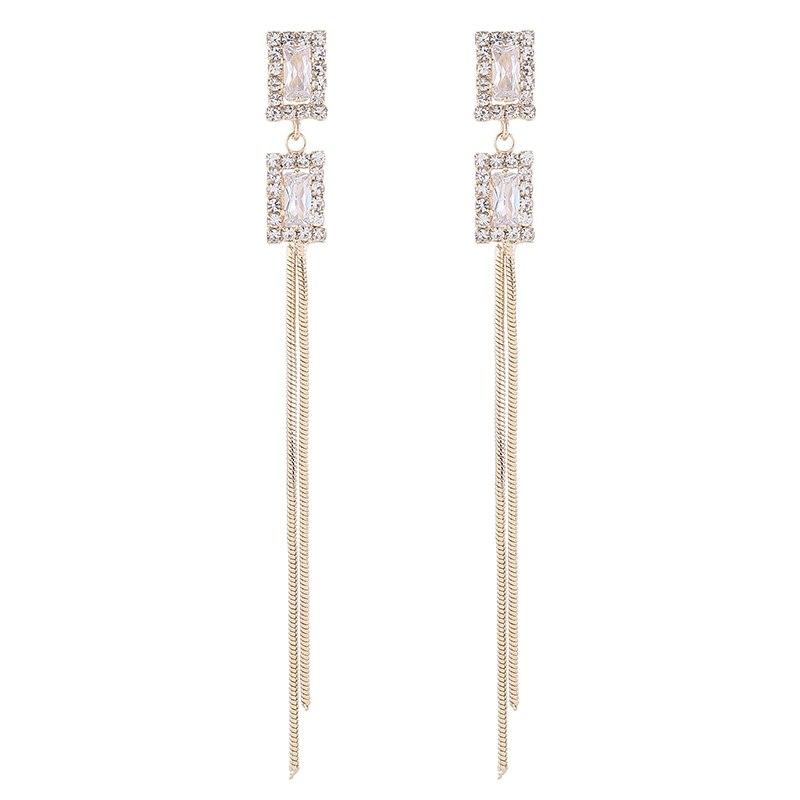 High quality square earrings feminine Korean version of the new wave earrings long tassel earrings elegant Fashion Stud Earrings