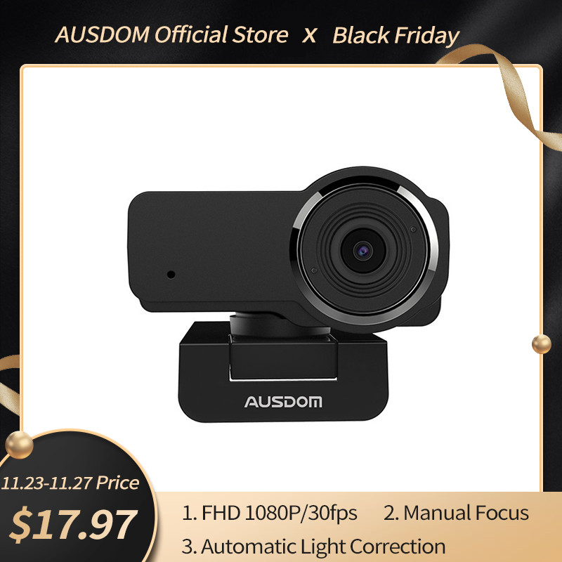 AUSDOM AW635 HD Webcam 1080P Streaming Web Camera with Mic Automatic Light Correction PC Cameras for OBS Skype YouTube