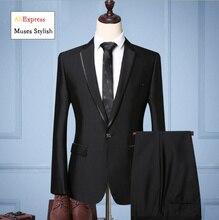 Jacket + Pant  2019 New Men Business Slim Suits Sets Wedding Dress Two -piece Suit Blazers Coat Trousers Waistcoat