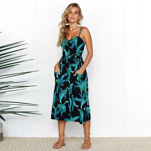 Plus Size Sunflower Print Button Beach Dress Women S-3XL Pocket Midi Dress Sexy Slip Dress Ladies Vestido 3