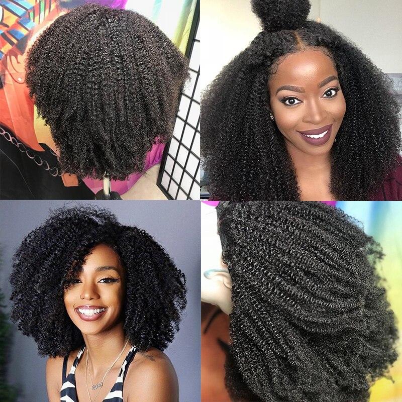 Afro crépus bouclés dentelle avant perruque 13x6 court Bob perruques de cheveux humains 250 densité U partie perruque brésilienne frontale perruque vierge 4B 4C Dolago - 4
