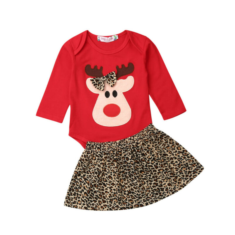 My First Christmas Clothes Newborn Baby Girl Deer Romper Top+Bowknot Tutu Skirt Set Outfits