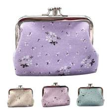 Vintage Women Cute Coin Purses Floral Printed Double Pockets Kiss Lock Mini Clutch Wallet Change Purse Mini Bag(China)
