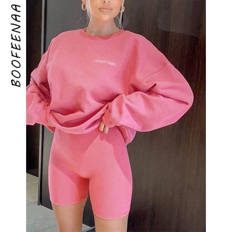 BOOFEENAA Two Piece Set Women Embroidery Hoodie Sweatshirt Biker Shorts Ladies Tracksuit Matching Sets Lounge Wear C66-DE41
