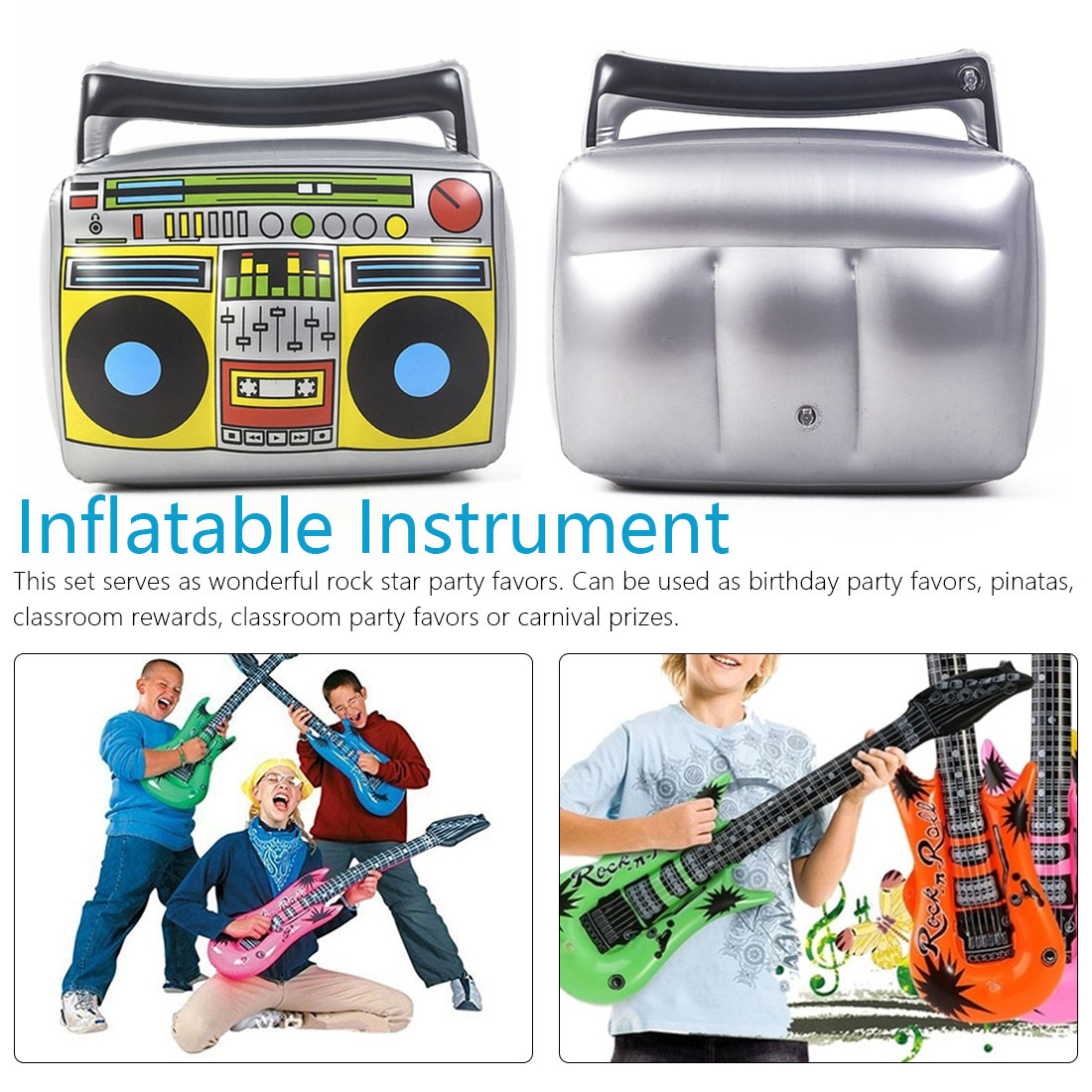 Inflatable Musical Toy Instruments Toy Inflatable Microphone Radio Decoration Props Roll Party Supplies