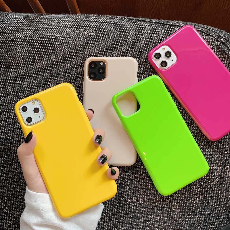 Moskado Fashion Permen Warna Ponsel Case untuk iPhone 11 Pro Max X XR X 8 7 6 6 S PLUS sederhana Plain Warna Lembut TPU Case Back Cover