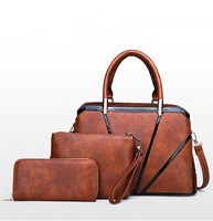 3 Pcs/Set Vintage Luxury Handbags Women Messenger Bags Female Purse Solid Shoulder Bags Office Lady Casual Tote Bolsa Feminina