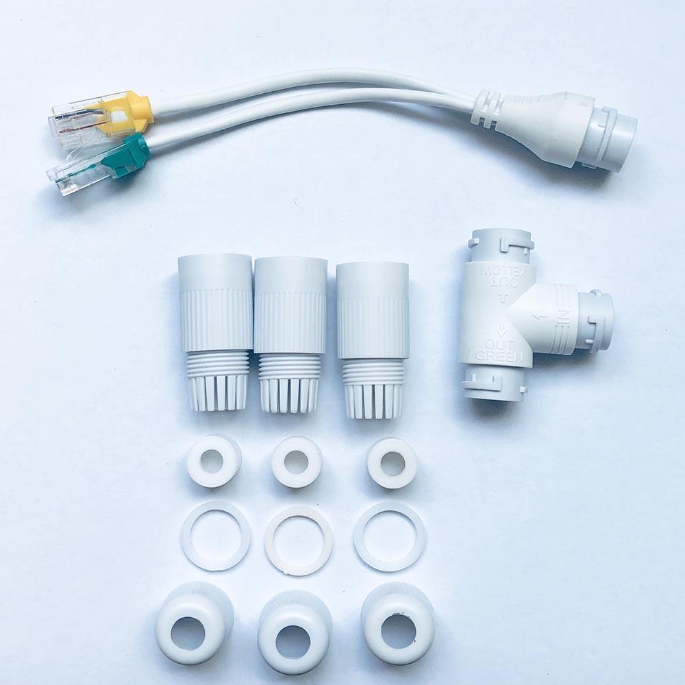 Инжектор POE Камера упрощенный Кабельный соединитель, сплиттер адаптер 2-в-1 Разъем сетевого кабеля трехкомпонентный каталитический RJ45 водон...