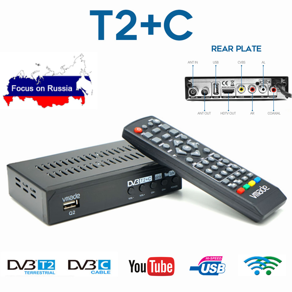 DVB-T2 HD TV Tuner DVB-C Combo Digital Terrestrial Receiver Youtube AC3 Audio Decoder Fully 1080P H.264 IPTV Set-Top Box