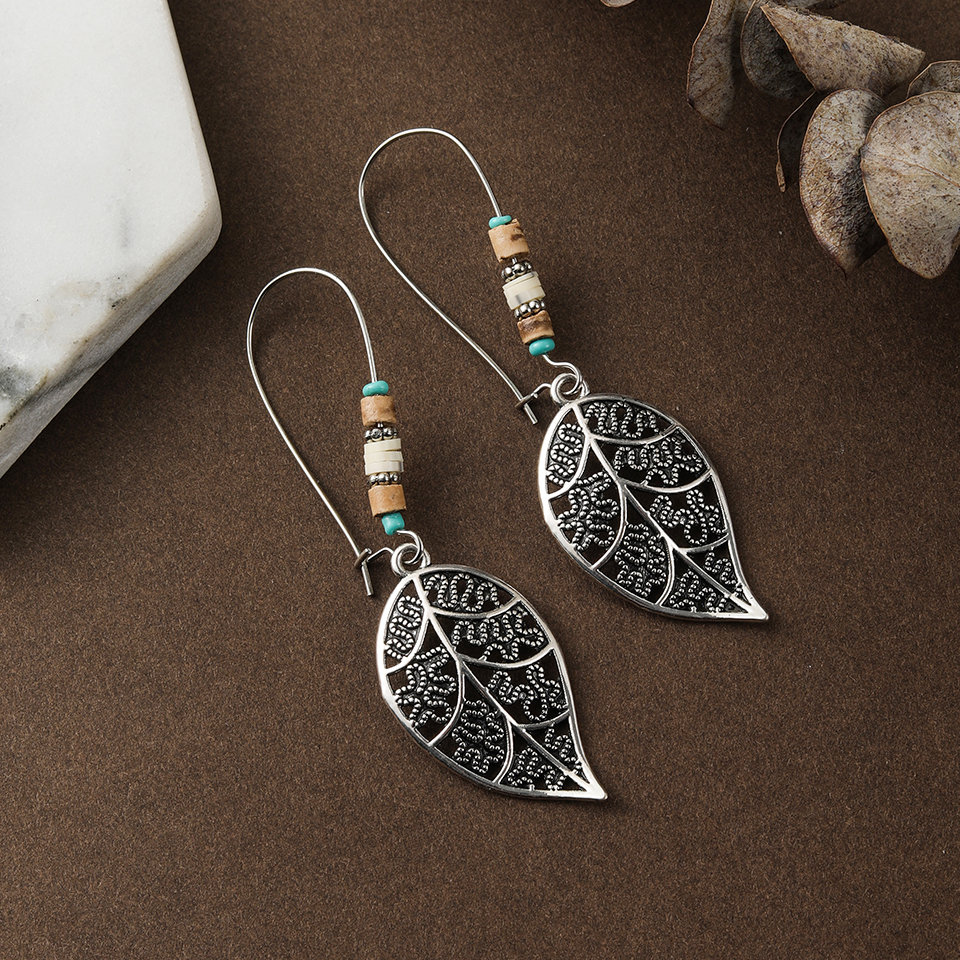 Vintage boho silver color long leaf dangle drop earrings for Women 2020fashion wooden rose gold ear rings cc jewelry accessories