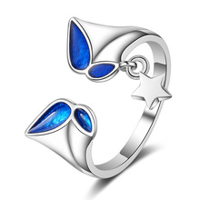 Blue Butterfly Star 925 Sterling Silver Adjustable Party Ring For Women Designer Fashion Cute Korean Animal Jewelry Gifts