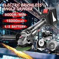 328TV 15000mah Brushless Electric Angle Grinder Rechargeable Cordless Polishing Grinder Power Tool for Metal Stone Wood Cutting