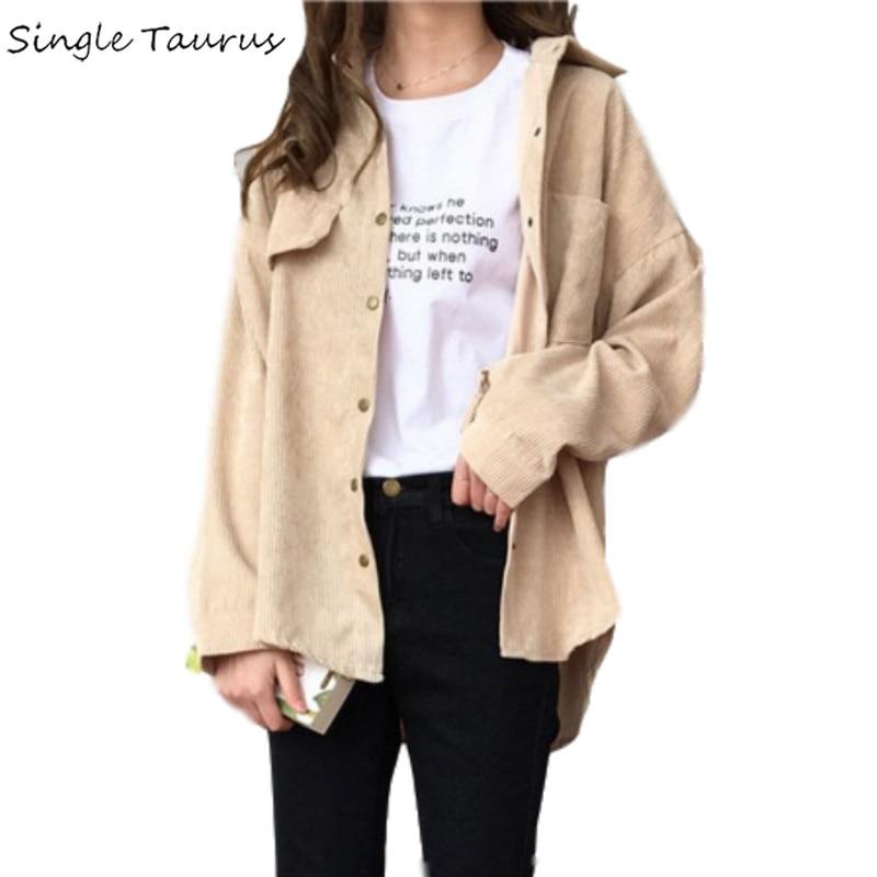 Corduroy Shirt Coat Women Fashion Long Sleeve Preppy Wide Waist Turn Down Collar Crop Jacket Women Harajuku Casual Pocket Jaket(China)