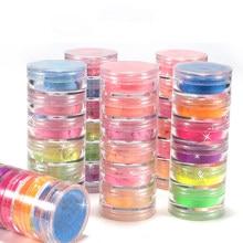 6 cores/conjunto de pigmento de néon para unhas efeito de fluorescência da noite prego brilho neon poeira arte do prego decoração mergulho em pó diy design