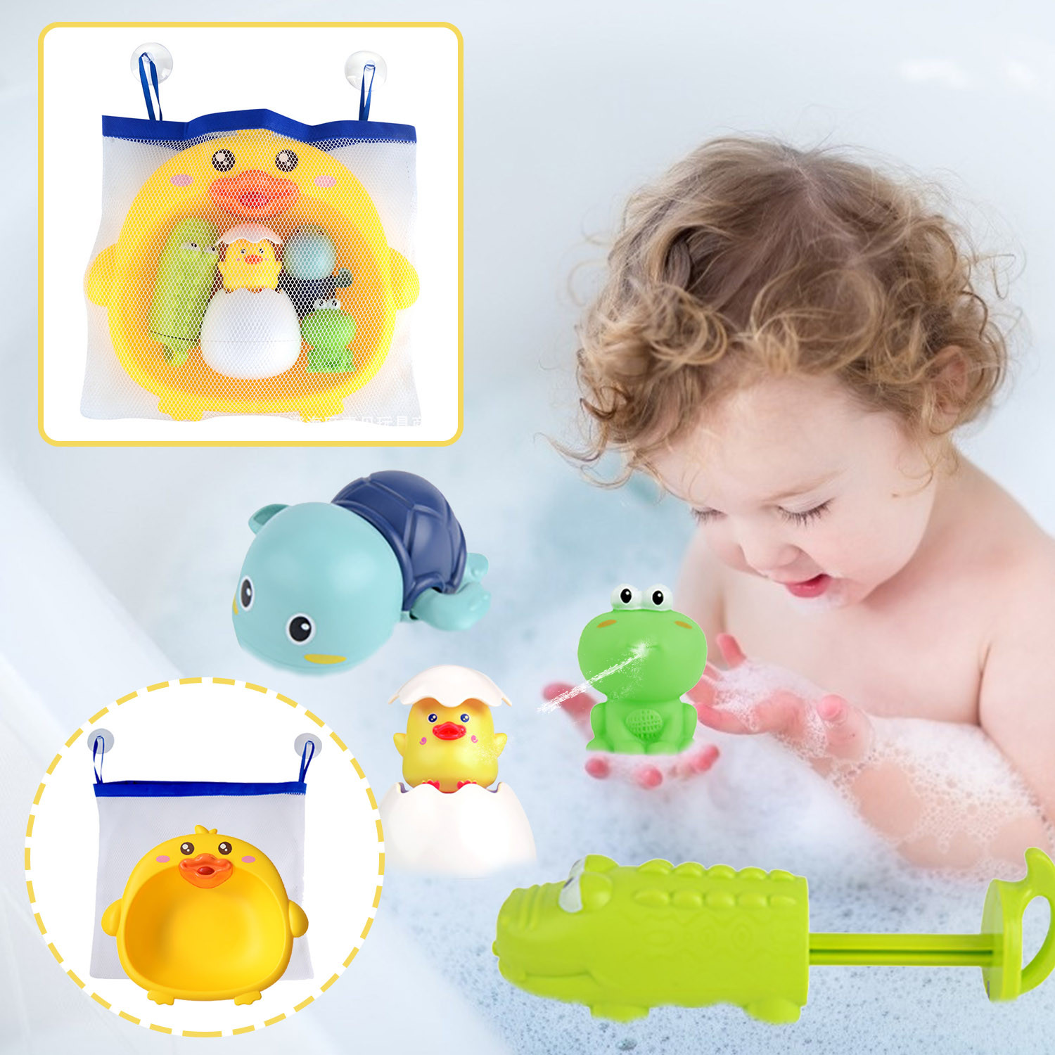 Baby Bath Toys Cute Duck Frog Mesh Net Toy Storage Bag Strong Suction Cups Bath Game Bag Bathroom Organizer Water Toys For Kids