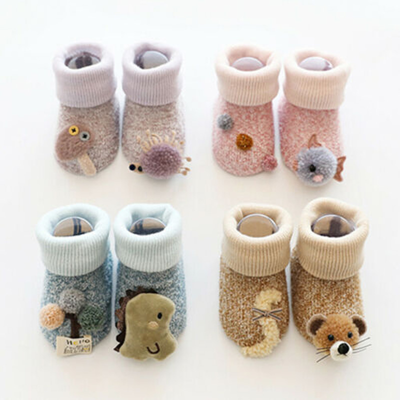 2020 New Cartoon Animals  Newborn Kids Baby Girl Boy Anti-Slip Crawling Warm Socks Slipper Shoes Boots 0-36 Months