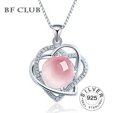 BF CLUB Female Heart shaped Necklace Pendant 6 colors choices Silver 925 Jewelry Powder Crystal Grapevine Amethyst Topaz(China)