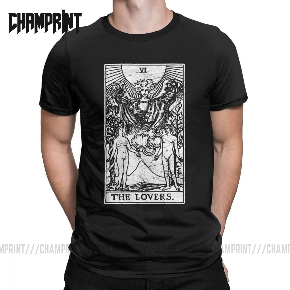 The Lovers Tarot Card Major Arcana Fortune Telling Occult T-Shirt Men 100% Cotton Tees Short Sleeve T Shirts Birthday Gift Tops