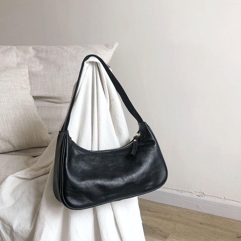 Small Shoulder Bag Vintage Handbag Hobos Bag For Women Oil Wax Leather Female Baguette Bag Subaxillary Mini Bolsa Bolsa Feminina