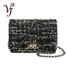 Vintage Womens Woolen Messenger Bag Female Shoulder Handbags Famous Designer Ladies Flap Clutches Crossbody Chain Bag for Girls