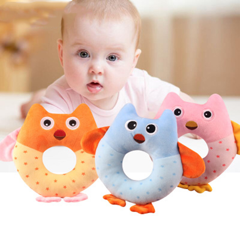 Cute Soft Kids Baby Infant Rattles Plush Stuffed Animals Soothing Educational Circle Toys For 3 Month Children Gift Unisex