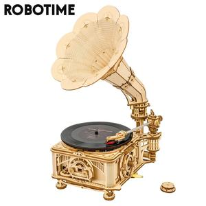 Robotime Rokr 424pcs DIY Hand Crank Classic Gramophone Wooden Model Building Kits Assembly Toy Gift for Children Adult LKB01