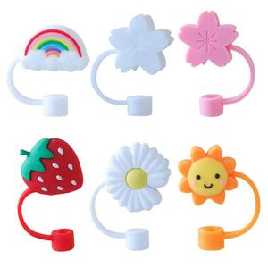 Cute Silicone Straw Tips Cover Reusable Drinking Straw Plugs Airtight Splash Proof Straw Plugs Food Grade Silicone Cup Cover