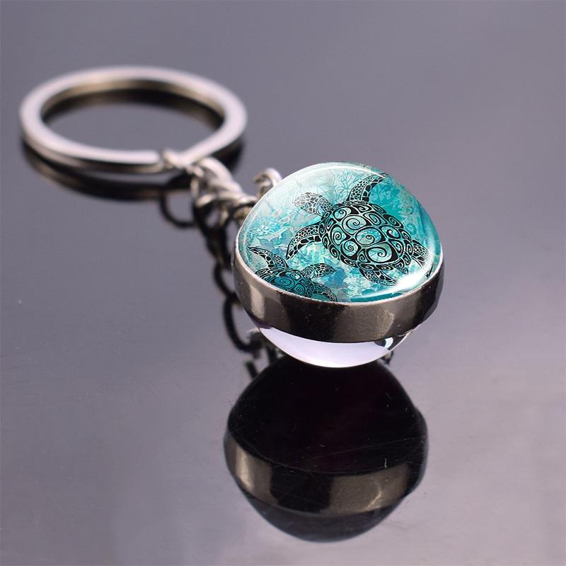 Marine Life Jewelry Sea Turtle Dolphin Seashells Keyring Key Ring Glass Ball  Keychain Metal Pendant  Accessories Souvenir Gift