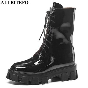 Image 2 - ALLBITEFO high quality genuine leather high heels platform women boots new winter gils shoes ankle boots for women girls boots