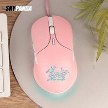 Girl Gaming Mouse 2400dpi Colorful Backlight Stylish Mice 4 Level DPI Wired Women Pink Mouse