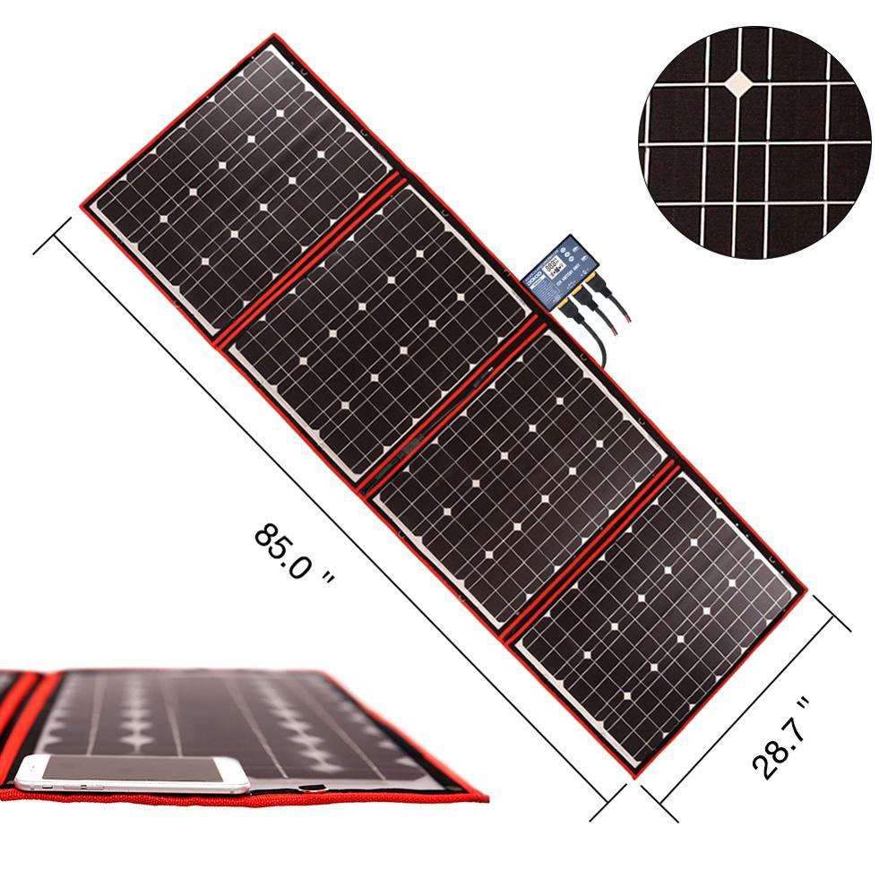 Dokio marque Flexible pliable 200W (50Wx4) Mono panneau solaire panneau solaire Portable haute puissance pour RV & bateau & voyage panneau solaire 200W