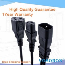 IEC 320 C14 to US Nema 5-15R + C13 Power Y Type Splitter Adapter Cable C14 to Dual Outlet Short Cord 10A 250V