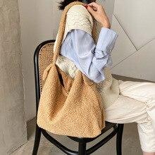 Shopper-Bag Crossbody-Bags Lamb Female Handbags Shoulder Wool Fluffy Plush Fashion Women